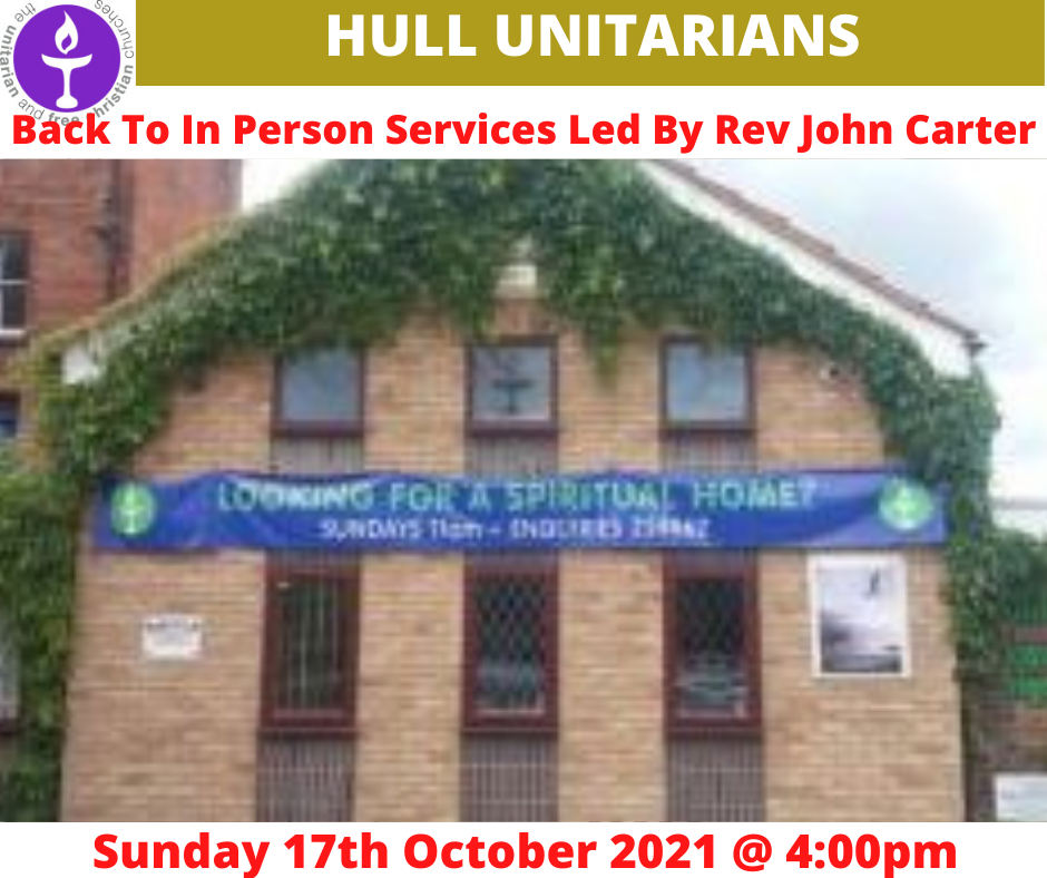 Read more about the article In Person Services Back At Hull Unitarians